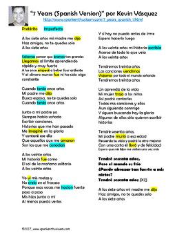 7 Years Spanish Song Lyrics and Activities - Kevin Vasquez - Musica