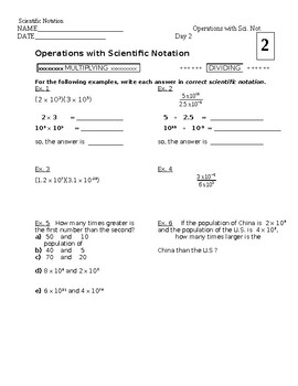 7 and 8 Honors - Scientific Notation worksheets (2)