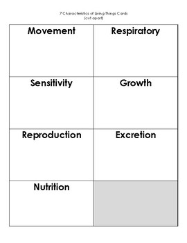 7 characteristics of Living Things - Matching Game