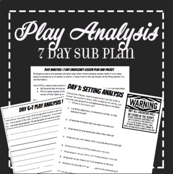 7 day Emergency Play Analysis Theatre Sub Plan and Handout