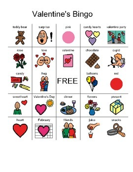 7 picture Valentine bingo cards for non-readers/students with autism