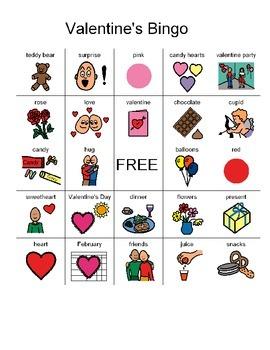 7 picture Valentine bingo cards for non-readers/students w