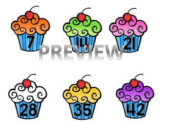 7's Multiplication Cupcake File Folder