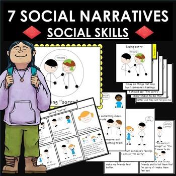 7 social skills social stories. Friendship. Flip/cue cards & monitoring. Autism