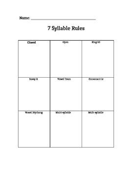 7 syllable organizer