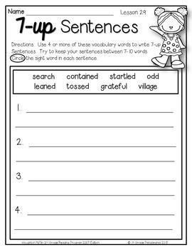 7-up Sentence Writing Using Houghton Mifflin Journeys 2nd Grade Vocabulary Words