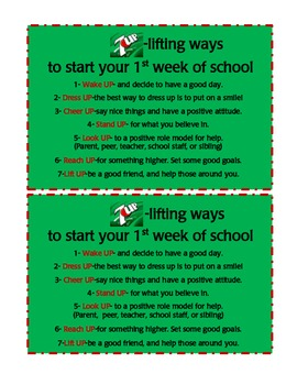 7 up lifting ways to start your first week of school