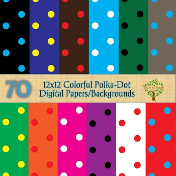 70 12x12 Colorful Polka-Dot Digital Papers/Backgrounds