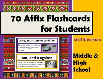70 Affix Flashcards for Middle and High School Students