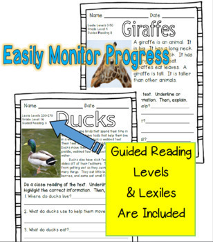 70 Leveled Guided Reading Passages (Animals) Guided Reading Levels A to N