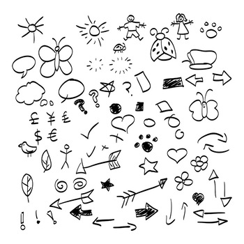 70 Black Hand Drawn Doodle Graphics | Vector Shape Clipart | AI, EPS