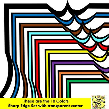 70 Borders Sharp Edged {7 designs in 10 Colors} Clip Art Back to School
