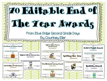 Editable End Of The Year Awards (over 70 awards)