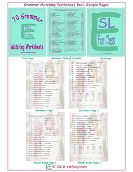 70 Grammar Matching Worksheet Book