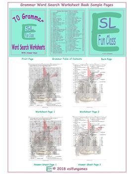 70 Grammar Word Search Worksheet Book