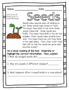 70 Nonfiction Leveled Passages (Plants) Guided Reading Levels A to N