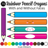 70 PENCIL CRAYONS Clip Art
