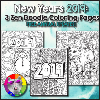 Zen Doodle Coloring Pages for the YEAR, 118 Holiday Coloring Sheets