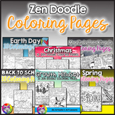 Zen Doodle Coloring Pages, Year Long Bundle