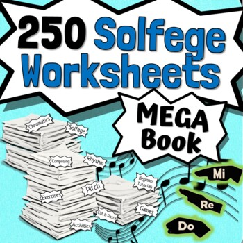 70 Solfege Worksheets - Tests Quizzes Homework Reviews or Sub Work for Choir!