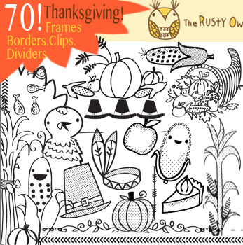 70! Thanksgiving Frames, Borders and clipart mix
