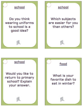70 Upper-intermediate ESL - ELL conversation starter and speaking prompt cards