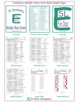 70 Vocabulary Multiple Choice Exam Book