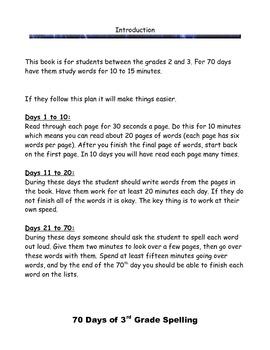 70 days of 3rd grade spelling