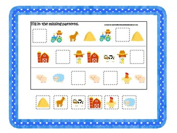 70 page preschool and daycare curriculum package with Farm themed games.