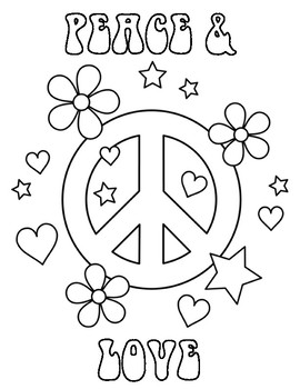 70's Day Peace and Love Coloring Sheet