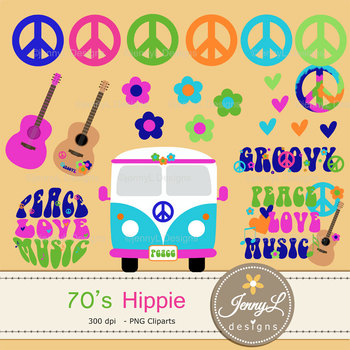70's Hippie digital paper and clipart SET