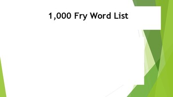 700 Fry Words for Word Wall or Flash Cards