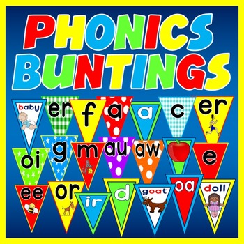 700 PHONICS BUNTINGS - DISPLAY LETTERS SOUNDS ALPHABET EAR