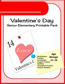 700 pg Valentine Day Senior Elementary Printables & Worksheets Packet