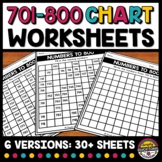 701 TO 800 CHART WORKSHEETS BLANK & FILL IN THE MISSING NU