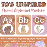 70s Inspired Boho Floral Pastel & Bright Alphabet Posters