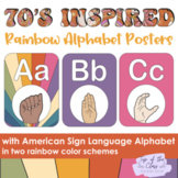 70s Inspired Boho Rainbow Alphabet Posters with ASL