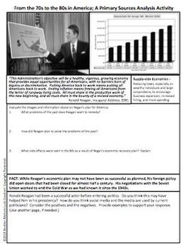 70s and 80s in America Primary Source Analysis Activity Reagan Reaganomics