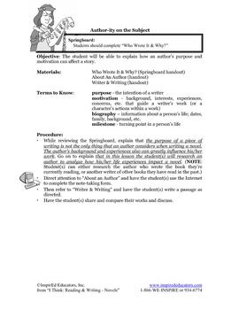 7105-3 Author's Purpose and Motivation (Literature)