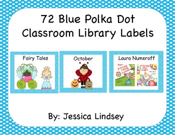 72 Blue Polka Dot Classroom Library Labels