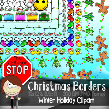 Christmas Borders - 72 Borders 12x12 & 8.5x11 Color&Outlined {the Teacher Stop}