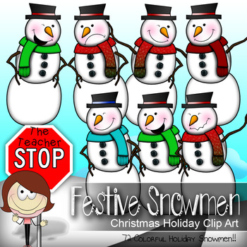 Snowman Clip art - 72 Colorful Only {The Teacher Stop}