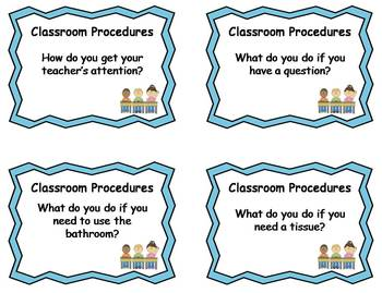 72 Classroom Routines & Procedures Question Cards