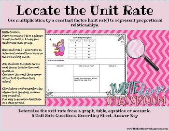 Unit Rate Recording Sheets. Use with my free Unit Rate powerpoint