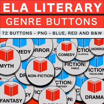 72 ELA Genre Buttons in PNG Format Red, Blue and B&W