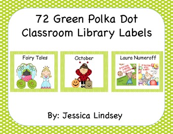 72 Green Polka Dot Classroom Library Labels