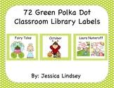 72 Green Polka Dot Classroom Library Labels