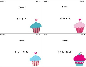72 Math Task Cards-Solving Expressions With Up to Three Operations