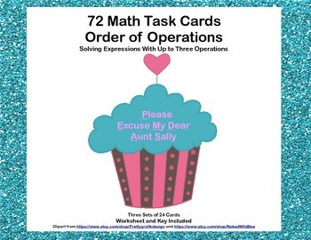 72 Math Task Cards-Solving Expressions With Up to Three Op