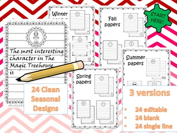 72 Seasonal Writing Frames (includes 24 editable versions)